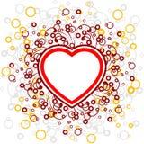 Scheda astratta con i rotoli, figura del cuore, cerchi - vec del biglietto di S. Valentino illustrazione di stock