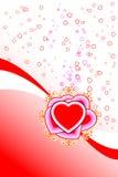 Scheda astratta del biglietto di S. Valentino della st con le figure ed il cerchio del cuore dei fiori royalty illustrazione gratis