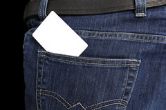 Scheda bianca in casella dei jeans Immagine Stock
