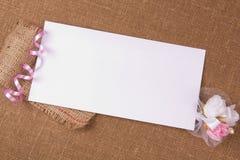 Scheda bianca per la congratulazione Fotografie Stock