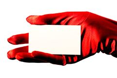 Scheda in bianco & guanto rosso immagini stock