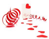 Scheda in bianco con cuore rosso Immagine Stock