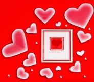 Scheda in bianco con cuore rosso Immagini Stock