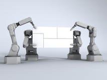 Scheda in bianco con i robot Illustrazione di Stock