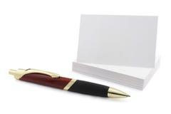 Scheda in bianco di chiamata con la penna Immagini Stock