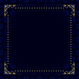 Scheda blu scuro con il blocco per grafici dell'oro Fotografie Stock
