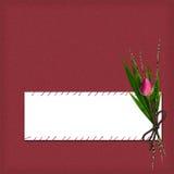 Scheda con di rosa e bambù dal desing Fotografie Stock Libere da Diritti
