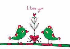 Scheda con gli uccelli ed albero di amore su fondo bianco Fotografia Stock