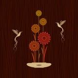 Scheda con gli uccelli ed i fiori Immagini Stock Libere da Diritti