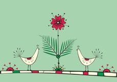 Scheda con gli uccelli ed il fiore di amore Fotografie Stock