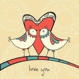 Scheda con gli uccelli nell'amore Immagine Stock Libera da Diritti