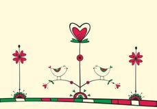 Scheda con gli uccelli sull'albero di amore Immagine Stock