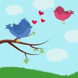 Scheda con gli uccelli svegli Uccello su un ramo Giorno del `s del biglietto di S Fotografie Stock Libere da Diritti