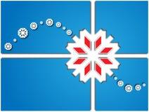 Scheda con i fiocchi di neve bianchi Fotografia Stock