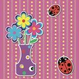 Scheda con i fiori ed i ladybugs Fotografia Stock Libera da Diritti