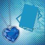 Scheda con il cuore blu del diamante per il disegno Fotografia Stock