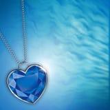 Scheda con il cuore blu del diamante per il disegno Immagine Stock