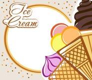 Scheda con il gelato Fotografia Stock Libera da Diritti