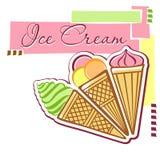 Scheda con il gelato Fotografie Stock Libere da Diritti