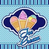 Scheda con il gelato Fotografia Stock