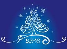 Scheda con l'albero di Natale bianco Fotografia Stock