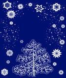 Scheda con l'albero di Natale ed i fiocchi di neve illustrazione vettoriale