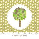 Scheda con l'albero verde Fotografia Stock Libera da Diritti