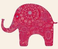 Scheda con l'elefante Fotografie Stock