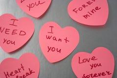 Scheda con la dichiarazione di amore Immagini Stock