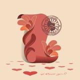 Scheda con una pergamena rosa e un bollo illustrazione di stock