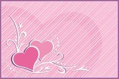 Scheda dei biglietti di S. Valentino - cuori Fotografia Stock