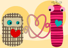 Scheda dei biglietti di S. Valentino delle bambole del tessuto del collegamento di amore Fotografie Stock