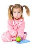 scheda del bambino che taglia ragazza a pezzi Immagine Stock Libera da Diritti