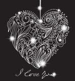 Scheda del biglietto di S. Valentino con cuore in bianco e nero floreale Fotografia Stock Libera da Diritti