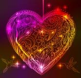 Scheda del biglietto di S. Valentino con cuore e gli uccelli floreali Fotografie Stock