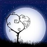 Scheda del biglietto di S. Valentino con l'albero ed il cuore Fotografia Stock Libera da Diritti