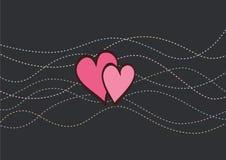 Scheda del biglietto di S. Valentino con le linee punteggiate Fotografia Stock