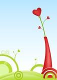 Scheda del biglietto di S. Valentino con un fiore a forma di del cuore Fotografia Stock
