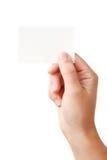 Scheda del blanc e della mano Fotografie Stock Libere da Diritti