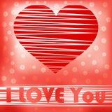 Scheda del cuore dell'estratto del biglietto di S. Valentino di amore Fotografie Stock Libere da Diritti