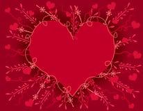 Scheda del cuore di giorno del biglietto di S. Valentino di Artsy Immagine Stock
