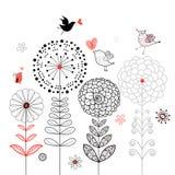 Scheda del fiore con gli uccelli Fotografia Stock Libera da Diritti