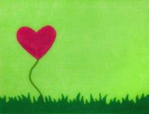 Scheda del fiore del cuore del feltro Fotografia Stock