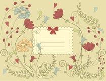 Scheda del fiore dell'annata Immagini Stock