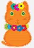 Scheda del gatto del fiore Fotografie Stock