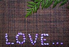Scheda del giorno del biglietto di S. Valentino con le caramelle lustrate Immagine Stock