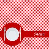 Scheda del menu con la zolla, la forcella e la lama Fotografia Stock