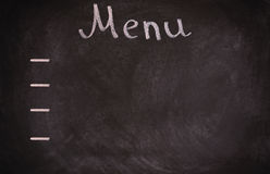 Scheda del menu del ristorante sulla lavagna Isolato sopra fondo bianco Fotografie Stock Libere da Diritti