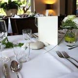 Scheda del menu su una tabella elegante impostata Fotografie Stock Libere da Diritti