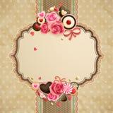 Scheda del merletto dell'annata di giorno del `s del biglietto di S. Valentino Fotografia Stock